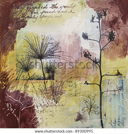 Original mixed media painting with images of seed heads and handwritten text. All elements in this art piece were created by the photographer - stock photo