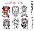 original modern cute ornate doodle fantasy monster personage collection. Raster version - stock photo