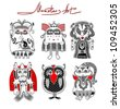 original modern cute ornate doodle fantasy monster personage collection . Raster version - stock vector