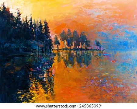 Original oil painting landscape - Forest near the lake - stock photo
