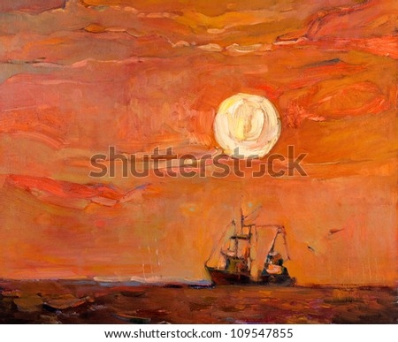 Original oil painting of beautiful sunset over ocean(sea)  and fishing boat(ship) on canvas.Modern Impressionism - stock photo