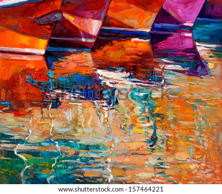 Original oil painting of boats and jetty(pier) on canvas.Sunset over ocean.Modern Impressionism - stock photo