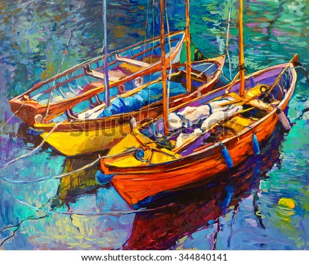Original oil painting of boats and sea on canvas. Sunset over ocean. Modern Impressionism - stock photo