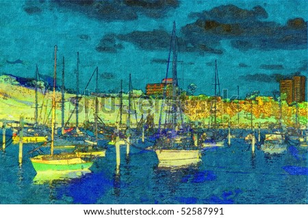 original oil painting of boats moored on stretched canvas - stock photo