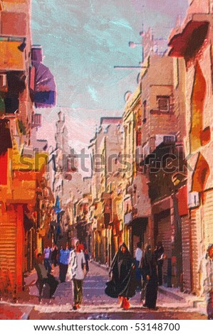 original oil painting of egypt cairo market place - stock photo
