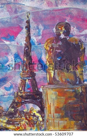 original oil painting of eiffel tower and statue - stock photo