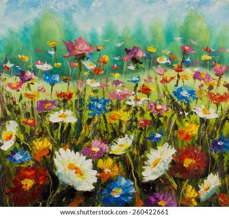 Original oil painting of flowers, beautiful field flowers on canvas. Wildflowers. Modern Impressionism. Impasto artwork. - stock photo