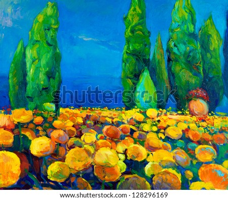 Original oil painting of green trees and yellow flowers on canvas.Landscape.Modern Impressionism - stock photo