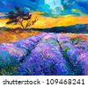 Original oil painting of lavender fields on canvas.Modern Impressionism - stock photo