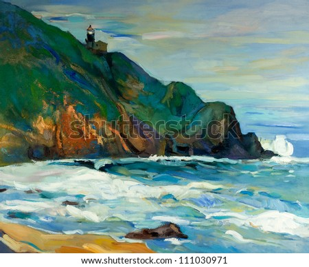 Original oil painting of  lighthouse on the seacoast on canvas.Modern Impressionism - stock photo