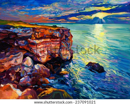 Original oil painting of  Ocean and cliffs on canvas.Rich golden  Sunset over ocean.Modern Impressionism - stock photo