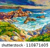 Original oil painting of  ocean(sea) coast and cliffs on canvas.Modern Impressionism - stock