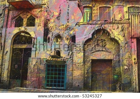 original oil painting of  old Arabic architecture