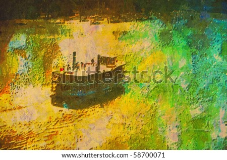 original oil painting of old scholl paddle boat steamer - stock photo