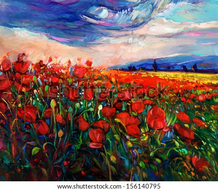 Original oil painting of Opium poppy( Papaver somniferum) field in front of beautiful sunset  on canvas.Modern Impressionism - stock photo