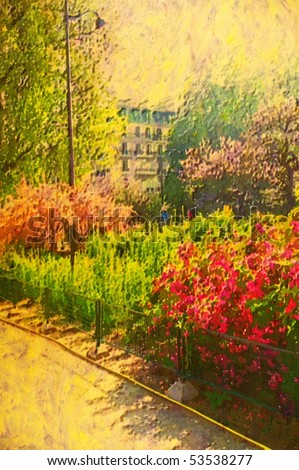 original oil painting of paris garden in flower - stock photo