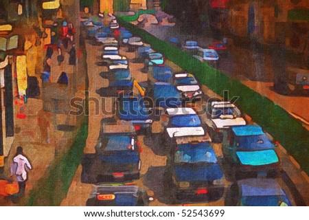 original oil painting of peak hour taxi traffic cairo - stock photo