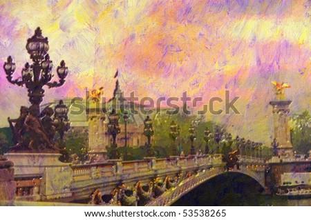 original oil painting of Pont Alexandre iii bridge - stock photo