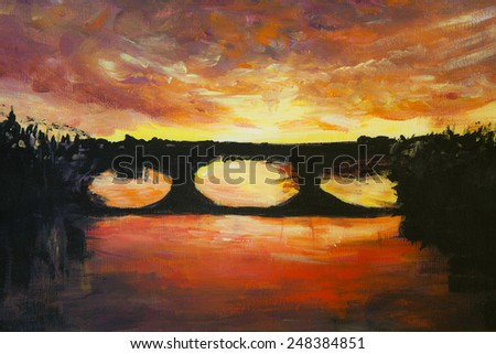Original oil painting of road,beautiful abstract red and yellow light on canvas.Abstract bridge.Modern Impressionism. - stock photo