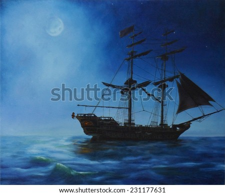 Original oil painting of sail ship and night sea on canvas.