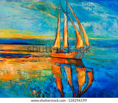 Original oil painting of sail ship and sea on canvas.Sunset over ocean.Modern Impressionism - stock photo
