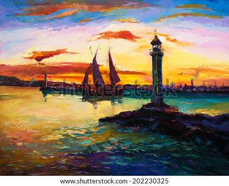 Original oil painting of ships,lighthouse and harbor on canvas.Rich golden  Sunset over ocean.Modern Impressionism - stock photo