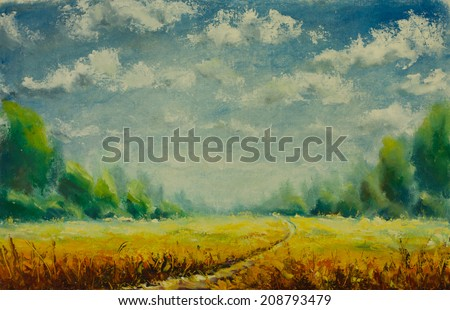 Original oil painting of summer nature,beautiful gold field on canvas.Summer field.Modern Impressionism.