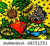 Original Oil Painting of Sunflowers on canvas - stock photo