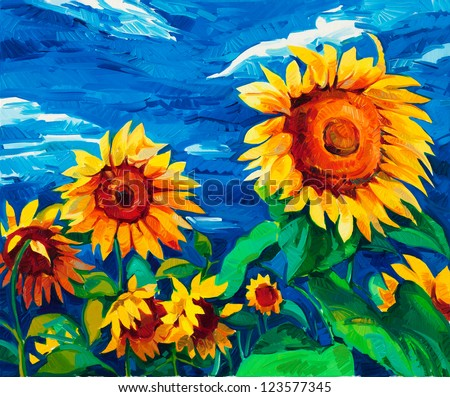 Original oil painting of sunflowers on canvas.Modern Impressionism - stock photo