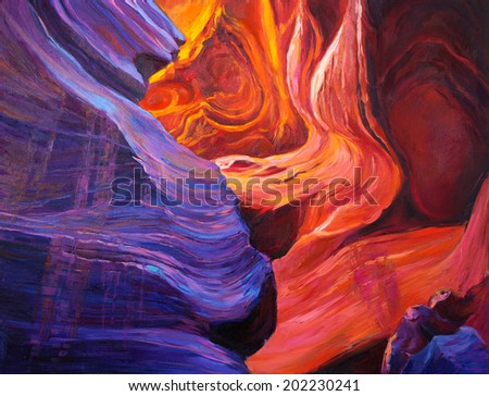Original oil painting of  the Grand Canyon inside a cave  on canvas.Modern Impressionism - stock photo