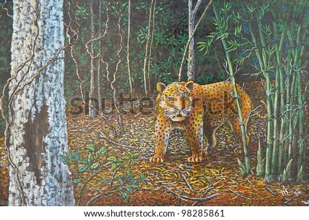 original oil painting on canvas - big leopard in the forest