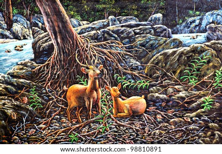 original oil painting on canvas - Deers in the forest - stock photo
