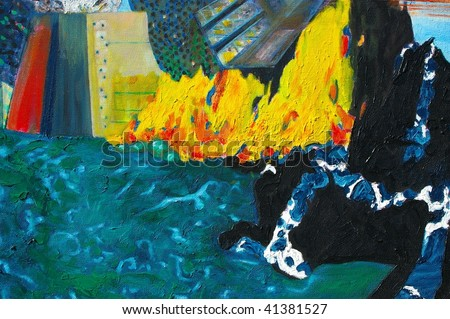 original oil painting on canvas for giclee, background or concept. Abstract future city - stock photo