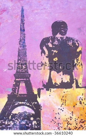 original oil painting on canvas for giclee, background or concept. Paris eiffel tower - stock photo