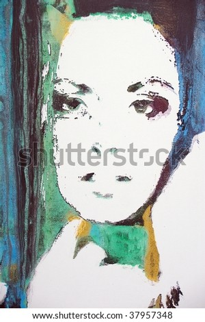 original oil painting on canvas for giclee, background or concept.pop portrait of womans face - stock photo