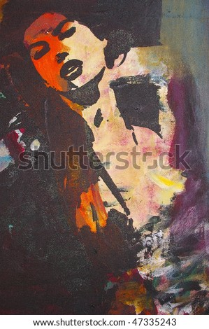 original oil painting on canvas for giclee, background or concept.pop portrait of womans face in dance