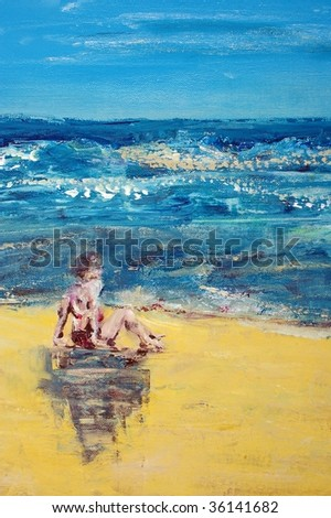 original oil painting on canvas for giclee, background or concept. Woman sitting on beach - stock photo