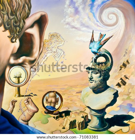 Original oil painting on canvas. In the style of Surrealism. The picture in full size - stock photo