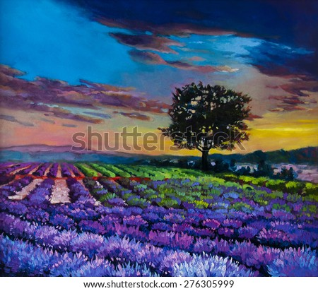 Original oil painting on canvas.Modern art.Beautiful sunset over lavender field. - stock photo