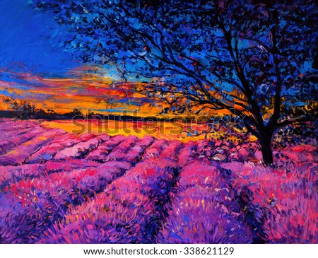 Original oil painting on canvas. Modern art. Beautiful sunset over lavender field. - stock photo