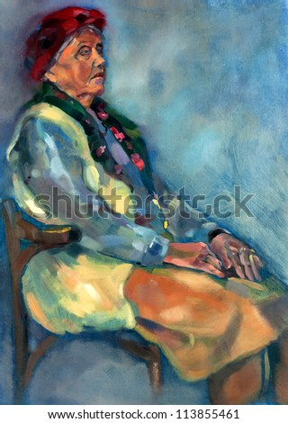 Original oil painting on canvas.Portrait showing a senior gipsy  woman sitting in a chair.Modern Impressionism - stock photo