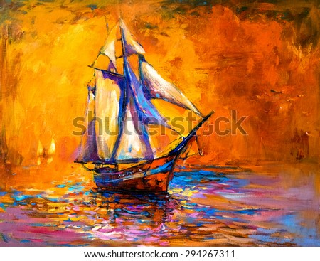original oil painting on canvas sail boat modern impressionism by nikolov - Free Painting Pictures