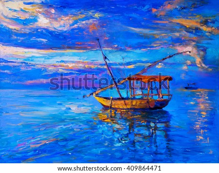 Original oil painting on canvas. Sky sunset and boat on the water. Modern impressionism - stock photo