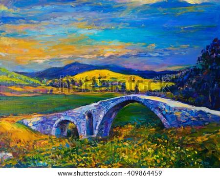 Original Oil Painting on Canvas- Sunset over the bridge- Modern impressionism - stock photo