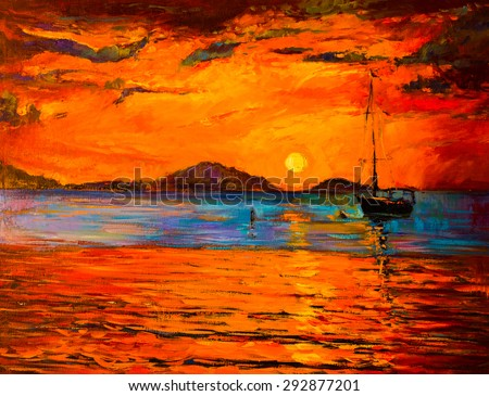 Original Oil Painting on Canvas. Sunset over the ocean- Modern impressionism by Nikolov - stock photo