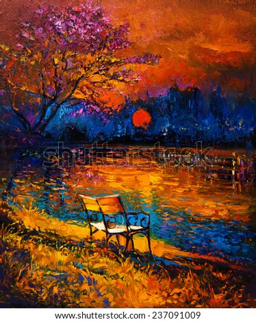 Original oil painting showing beautiful Autumn forest,lake and bench on canvas. Modern Impressionism - stock photo