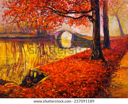 Original oil painting showing beautiful Autumn park and lake on canvas. Modern Impressionism - stock photo