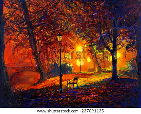 Original oil painting showing beautiful Autumn park,lake and bench on canvas. Modern Impressionism - stock photo