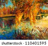 Original oil painting showing beautiful lake,sunset landscape.Autumn forest and sky. Modern Impressionism - stock photo