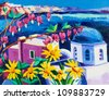 Original oil painting showing Blue churches and white houses of Oia village at Santorini island with sea view. Greece.Modern Impressionism - stock photo